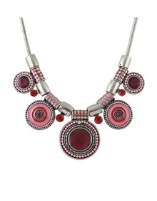 Red Beads Round Statement Necklace