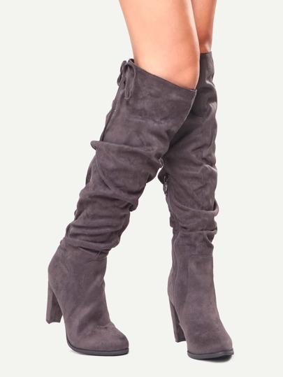Grey Faux Suede Tie Back Knee Zipper Boots