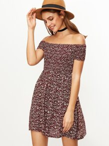 Burgundy Floral Print Off The Shoulder Flare Dress