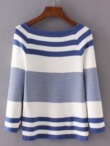 Blue Striped Raglan Sleeve Slit Side Knitwear