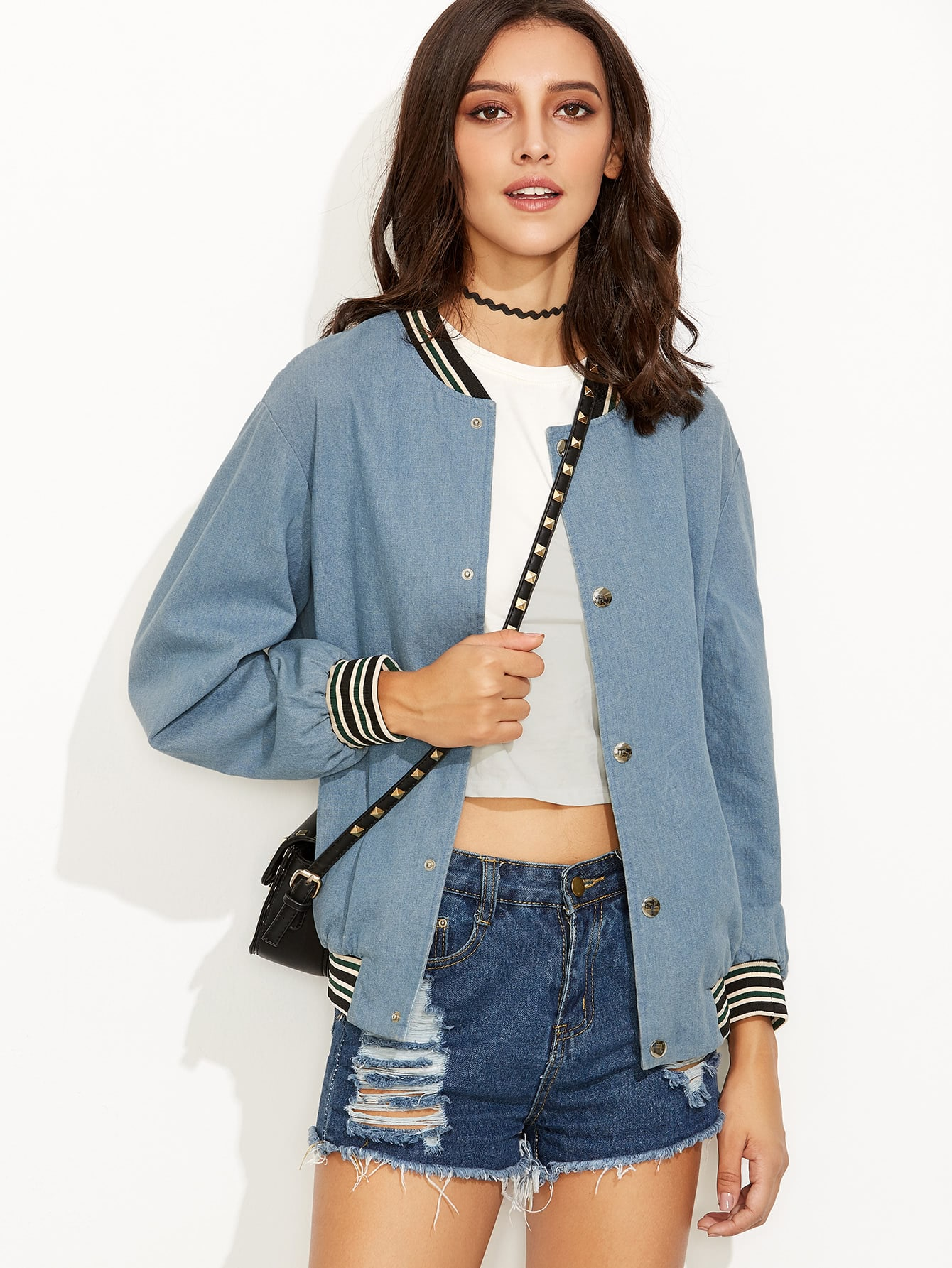 Blue Ribbed Varsity Stripe Trim Chambray Bomber Jacket jacket160815704
