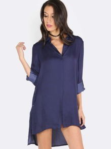 Collared Button Up Tunic Top NAVY