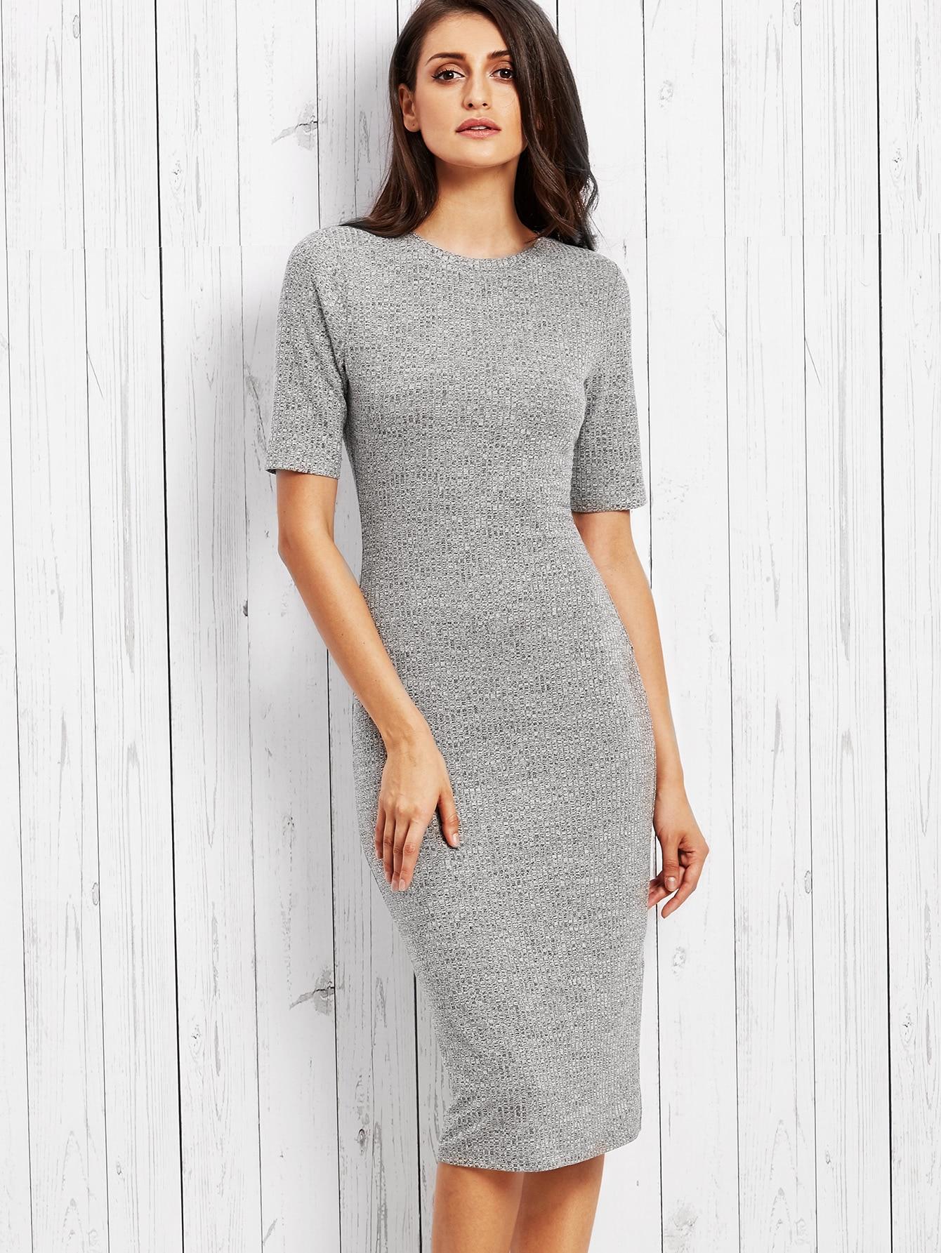Ribbed Pencil Dress dress160826702