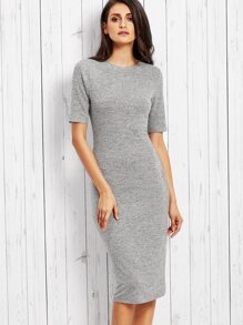 Heather Grey Ribbed Pencil Dress