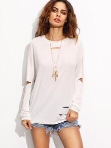 White Distressed High Low T-shirt