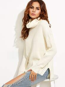 White Turtle Neck Drop Shoulder Side Slit Sweater