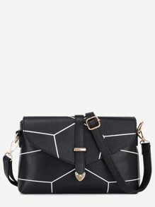 Black PU Buckle Print Flap Bag