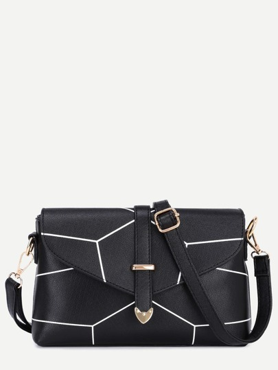 Black PU Buckle Print Flap Bag