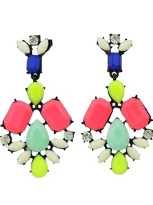 Hotpink Colorful Resin Stone Flower Statement Drop Earrings