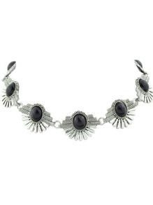 Black Indian Design Imitation Turquoise Flower Choker Necklace