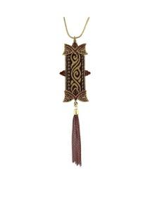 Coffee Enamel Long Pendant Necklace