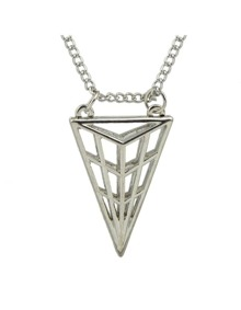 Silver Triangle Pendant Long Necklace