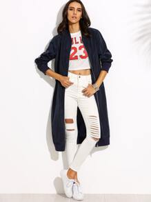 Navy Zip Up Longline Bomber Jacket