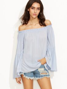 Blue Tiered Bell Sleeve Off The Shoulder Top