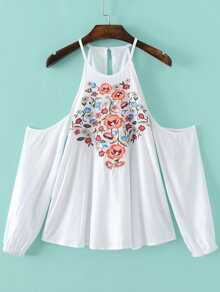White Flower Embroidered Open Shoulder Top