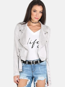 Cropped Suede Biker Jacket LIGHT GREY