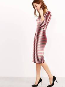 Burgundy White Half Sleeve Striped Dress