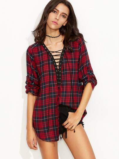 Red Plaid Roll Tab Sleeve Lace Up Blouse