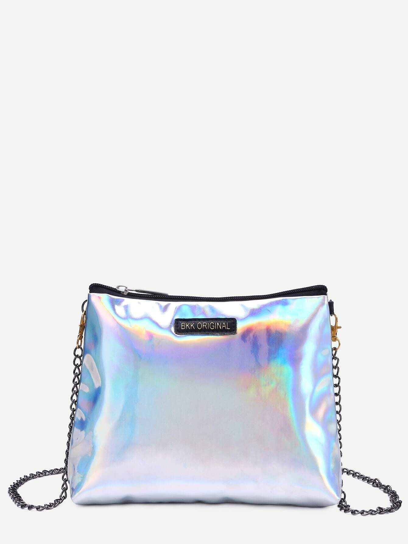 Zip Closure Iridescent Bag With Chain Strap new bag strap chain wallet handle purse acrylic resin strap chain strap replaced bag strap bag spare parts