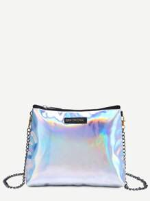 Zip Closure Iridescent Bag With Chain Strap