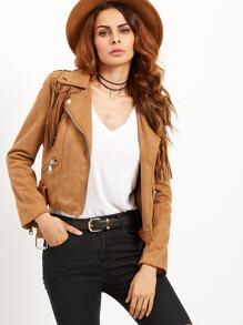 Khaki Suede Fringe Moto Jacket With Buckle
