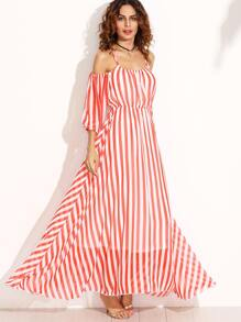 Vertical Striped Cold Shoulder Chiffon Dress