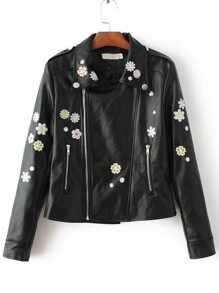 Black Flower Embroidery Asymmetric Zip Moto Jacket