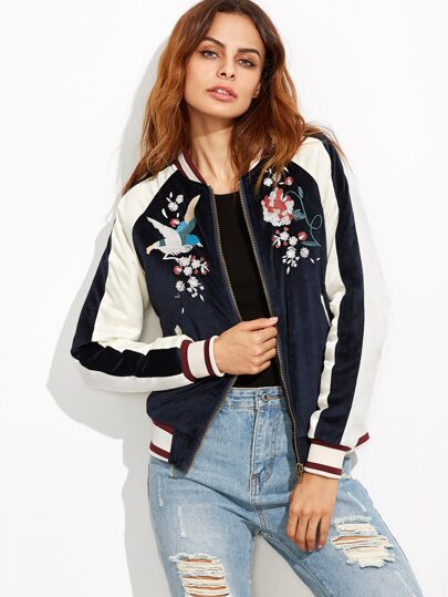 Navy Embroidery Bomber Jacket Whith Zipper