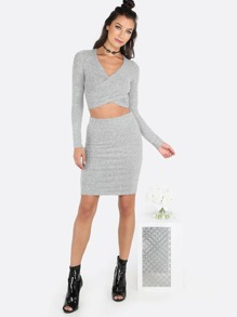 Knit Wrap Over & Skirt Set HEATHER GREY