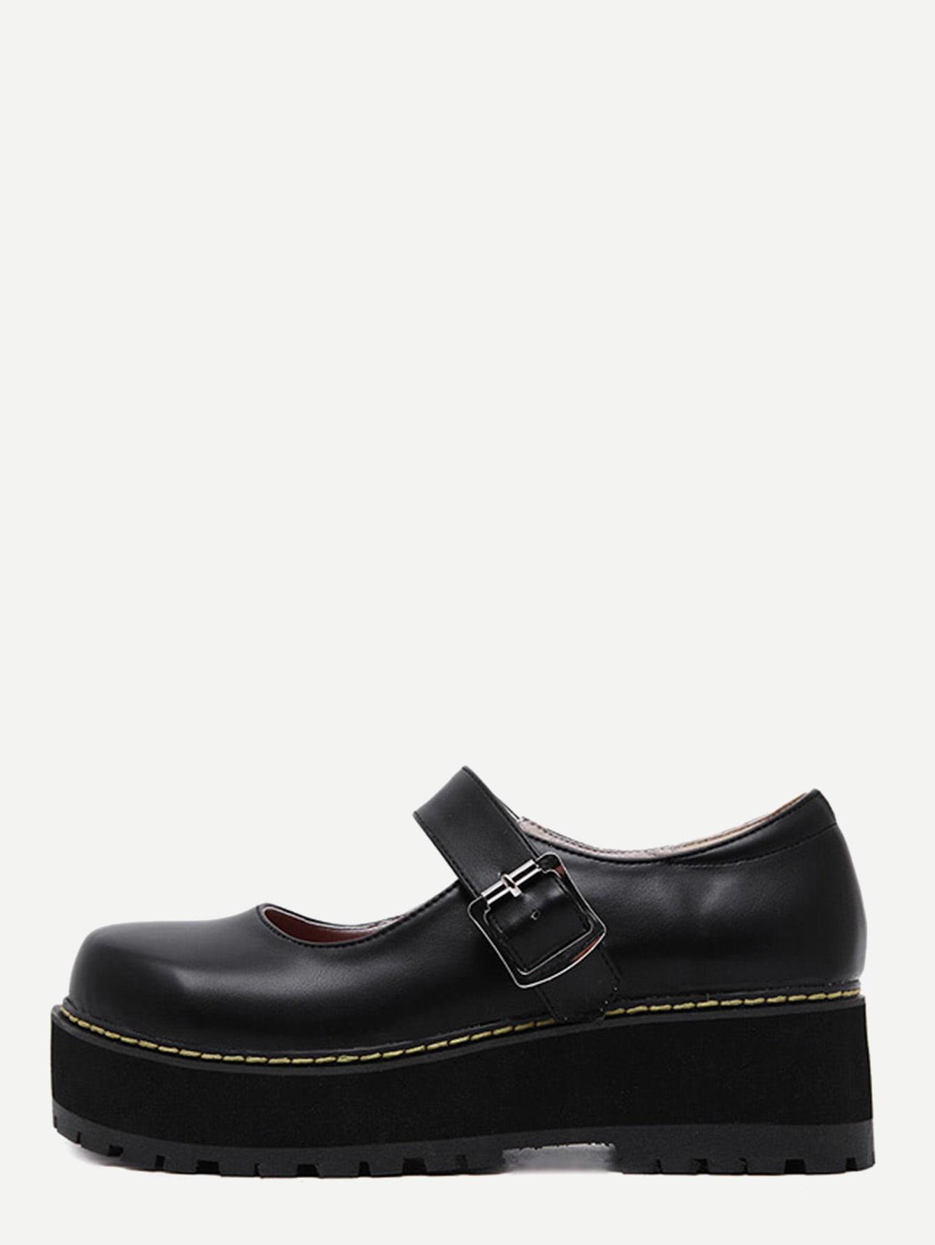 Фото Black Faux Leather Mary Jane Shoes. Купить с доставкой
