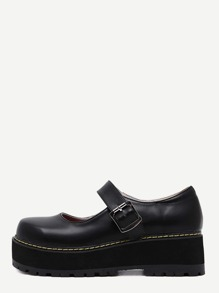 Scarpe Ecopelle Mary Jane - Nero