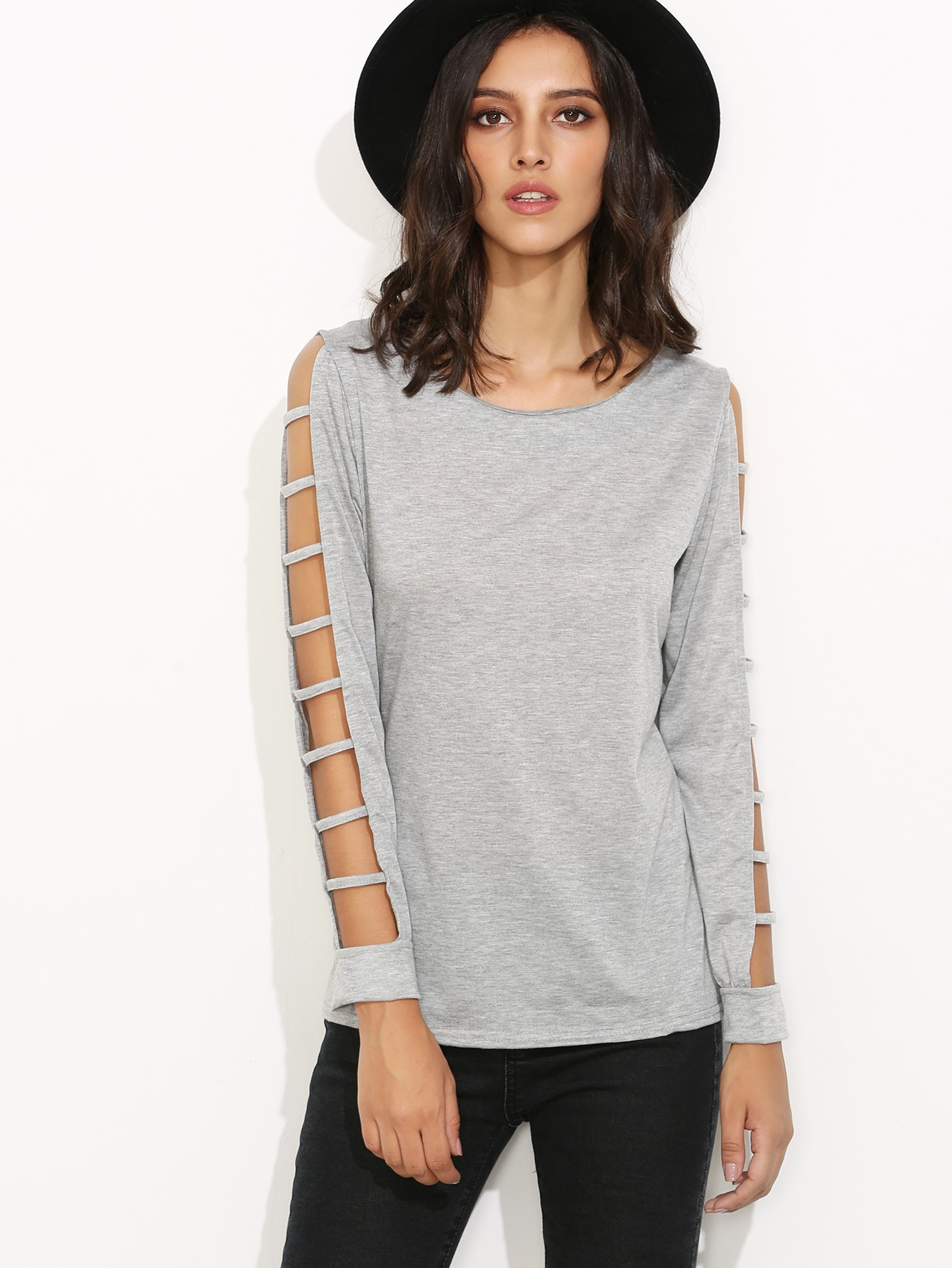 Grey ladder cut out sleeve t shirt shein sheinside for How to cut sleeves off a shirt