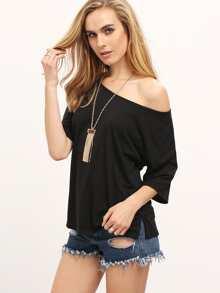 Black Split Side Loose T-shirt