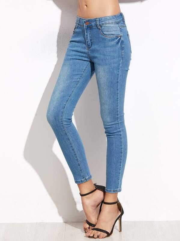 Blue Skinny Ankle Denim Jeans, Camila