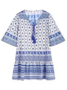 Blue Porcelain Print Tie Neck Chiffon Dress