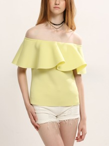 Yellow Off The Shoulder Ruffle Top