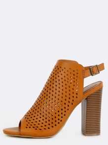 Perforated Slingback Stacked Heel Mules TAN