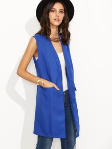 Blue Flap Pockets Sleeveless Long Blazer