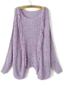 Purple Hollow Out Fringe Detail Batwing Sleeve Sweater
