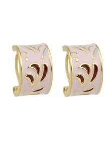 Pink Pattern Ethnic Hoop Earrings