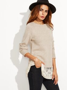 Apricot Lace Trim Raglan Sleeve Sweater