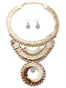 Gold Plated Rhinestone Geometric Chain Statement Jewelry Set