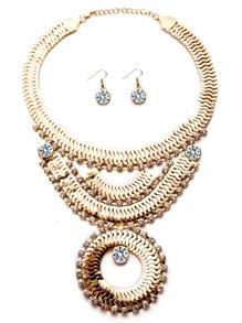 Gold Plated Rhinestone Geometric Chain Statement Jewelry Set