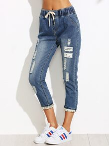 Blue Ripped Letter Patch Drawstring Waist Cuffed Jeans