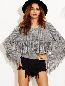 Grey Marled Knit Drop Shoulder Fringe Sweater