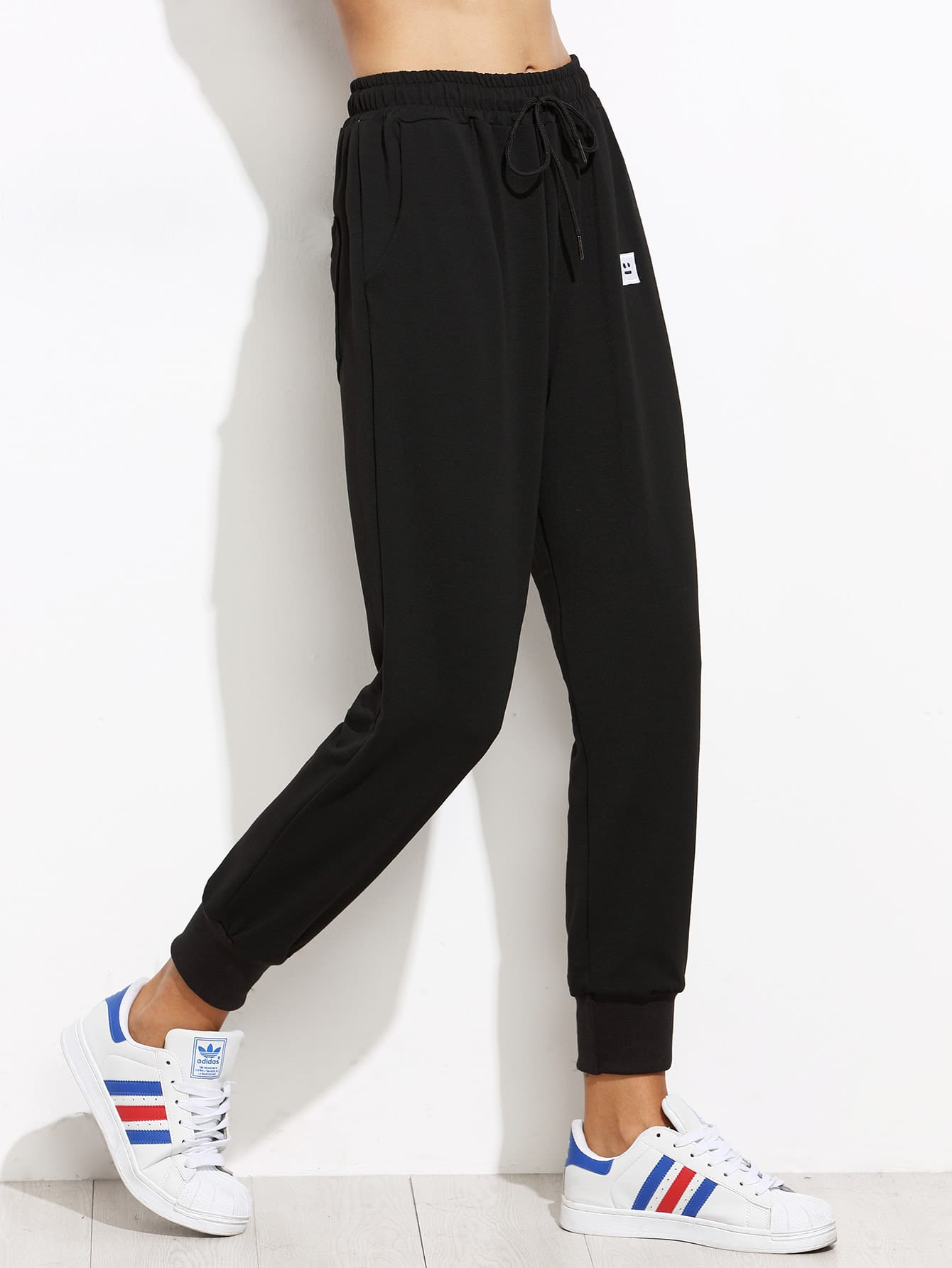Drawstring Patch Peg Jogger Pants -SheIn(Sheinside)