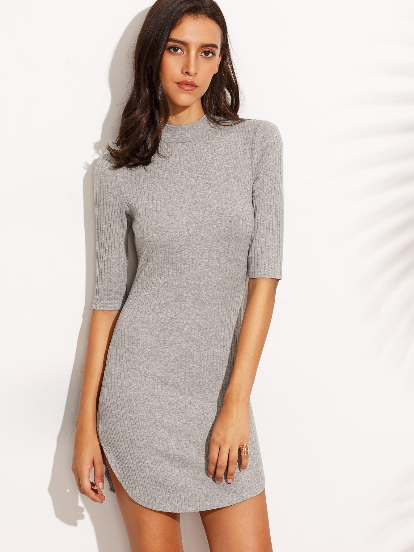 Dolphin Hem Elbow Sleeve Ribbed Dress dress160805720