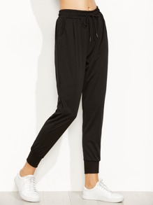 Black Drawstring Waist Tapered Leg Pants