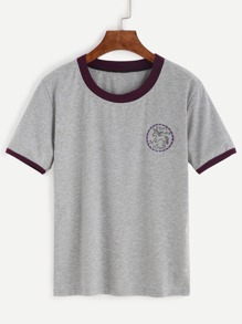 Grey Contrast Trim Embroidered T-shirt