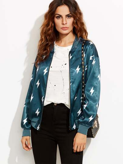 Blue Lightning Print Satin Bomber Jacket